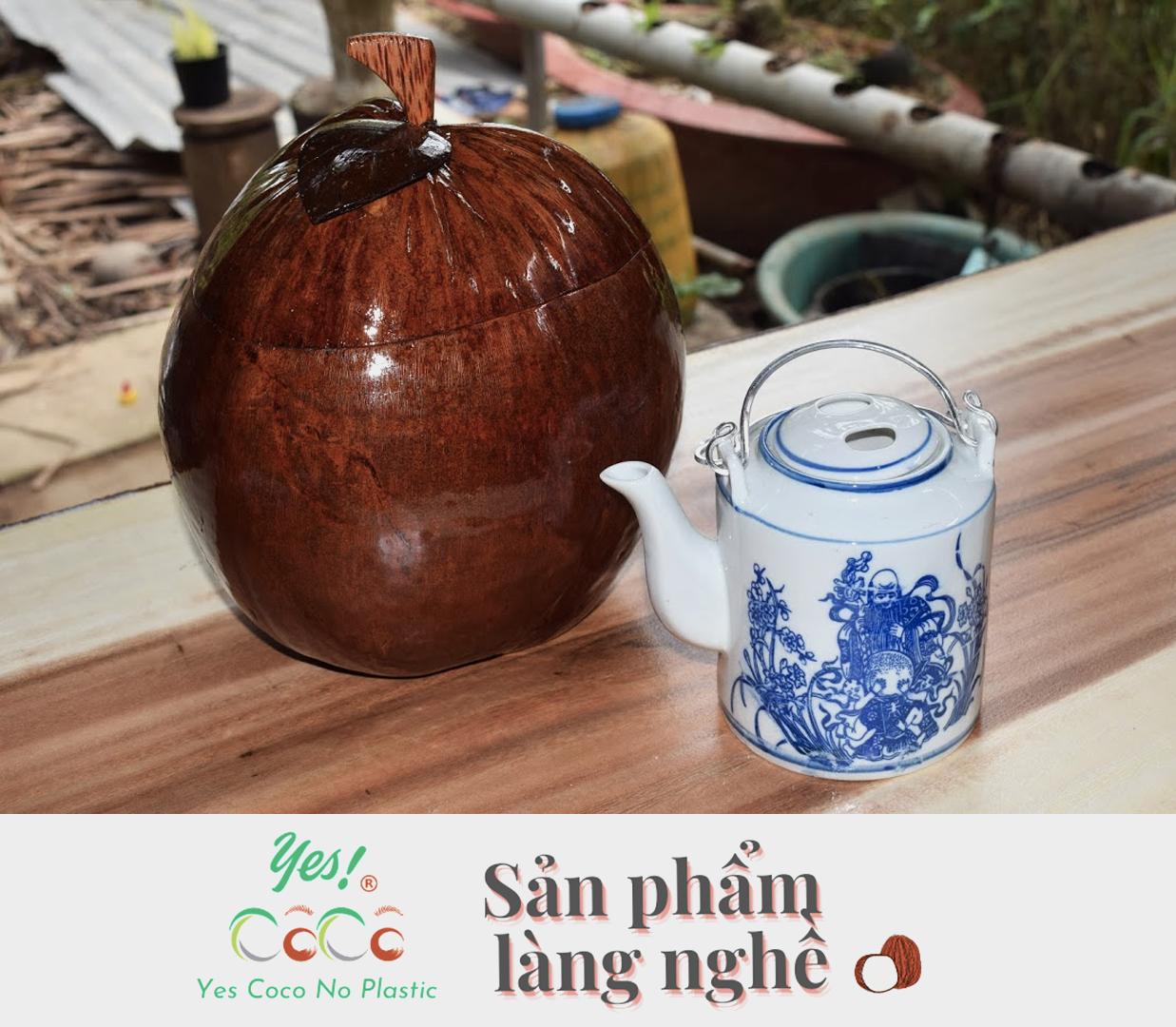 Bình Đựng Ấm Trà Trái Dừa - Tặng Bình Tích 500ml
