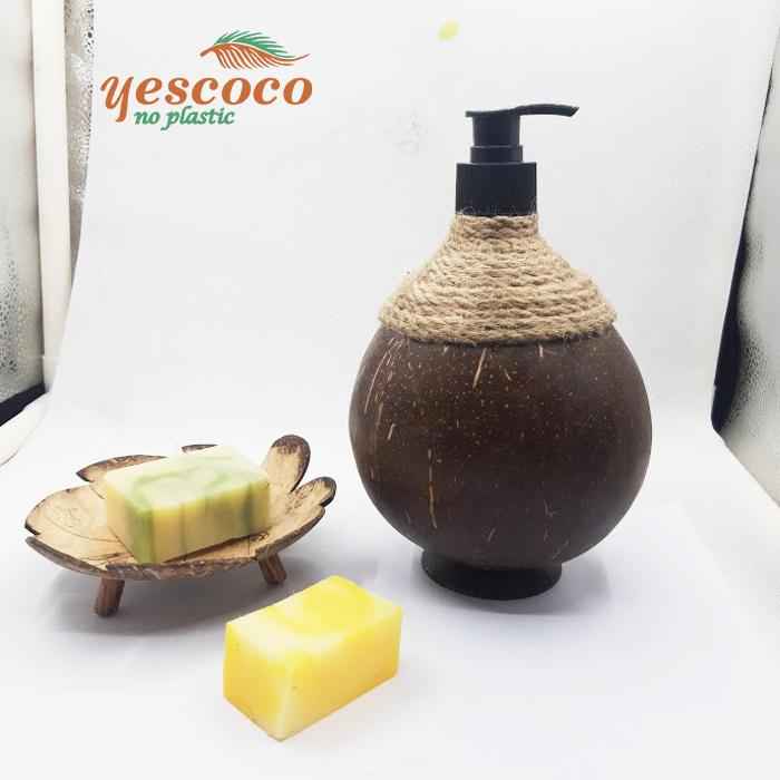 Vỏ chai gáo dừa đựng dầu gội 300ml